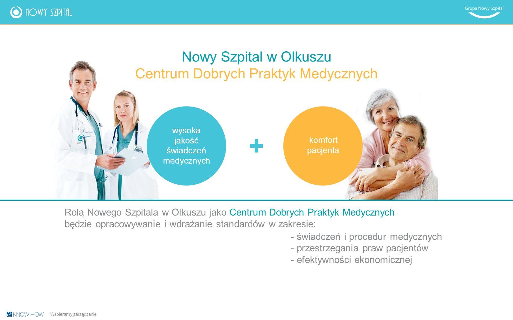 Rolą Nowego Szpitala w Olkuszu jako Centrum Dobrych Praktyk Medycznych będzie opracowywanie i wdrażanie standardów w zakresie: -świadczeń i procedur medycznych -przestrzegania praw pacjentów -efektywności ekonomicznej wysoka jakość świadczeń medycznych komfort pacjenta Nowy Szpital w Olkuszu Centrum Dobrych Praktyk Medycznych Wspieramy zarządzanie
