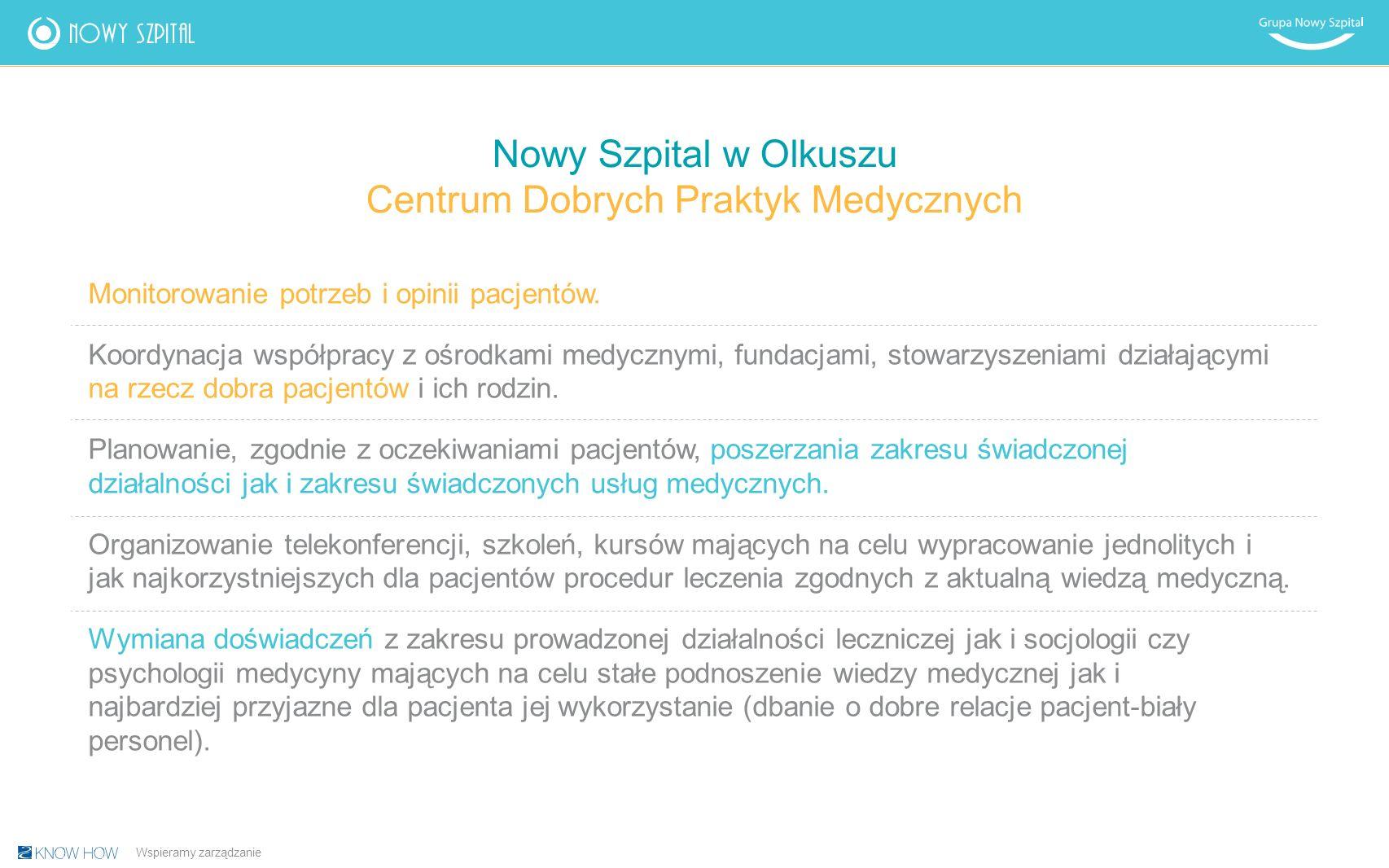 Nowy Szpital w Olkuszu Centrum Dobrych Praktyk Medycznych Monitorowanie potrzeb i opinii pacjentów.