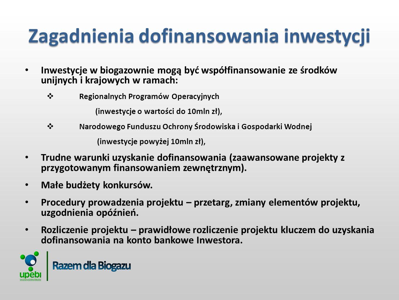 Inwestycje w biogazownie mogą być współfinansowanie ze środków unijnych i krajowych w ramach: Regionalnych Programów Operacyjnych (inwestycje o wartości do 10mln zł), Narodowego Funduszu Ochrony Środowiska i Gospodarki Wodnej (inwestycje powyżej 10mln zł), Trudne warunki uzyskanie dofinansowania (zaawansowane projekty z przygotowanym finansowaniem zewnętrznym).