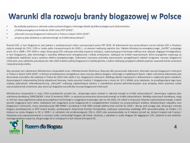 Na politykę państwa w zakresie wykorzystania biogazu rolniczego składa się kilka strategicznych dokumentów: Polityka energetyczna Polski do 2030 roku (PEP 2030); Kierunki rozwoju biogazowni rolniczych w Polsce w latach 2010-2020; Krajowy plan działania w zakresie energii ze źródeł odnawialnych .