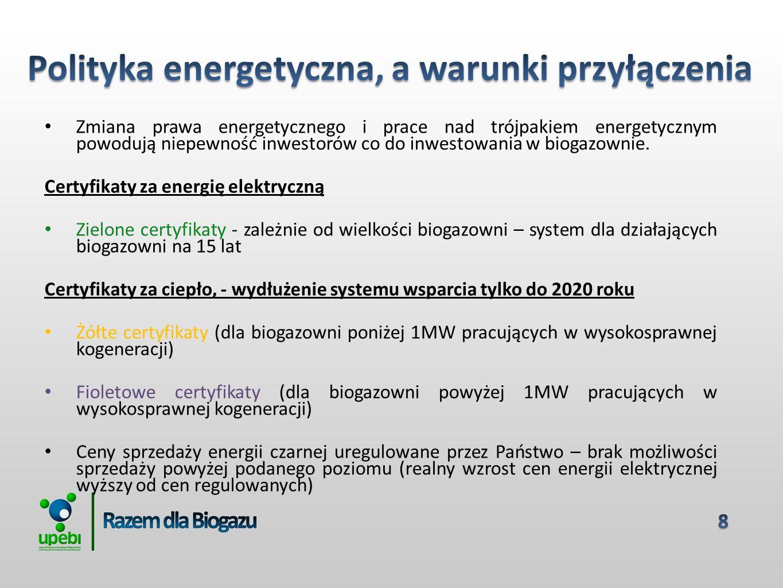 Zmiana prawa energetycznego i prace nad trójpakiem energetycznym powodują niepewność inwestorów co do inwestowania w biogazownie.