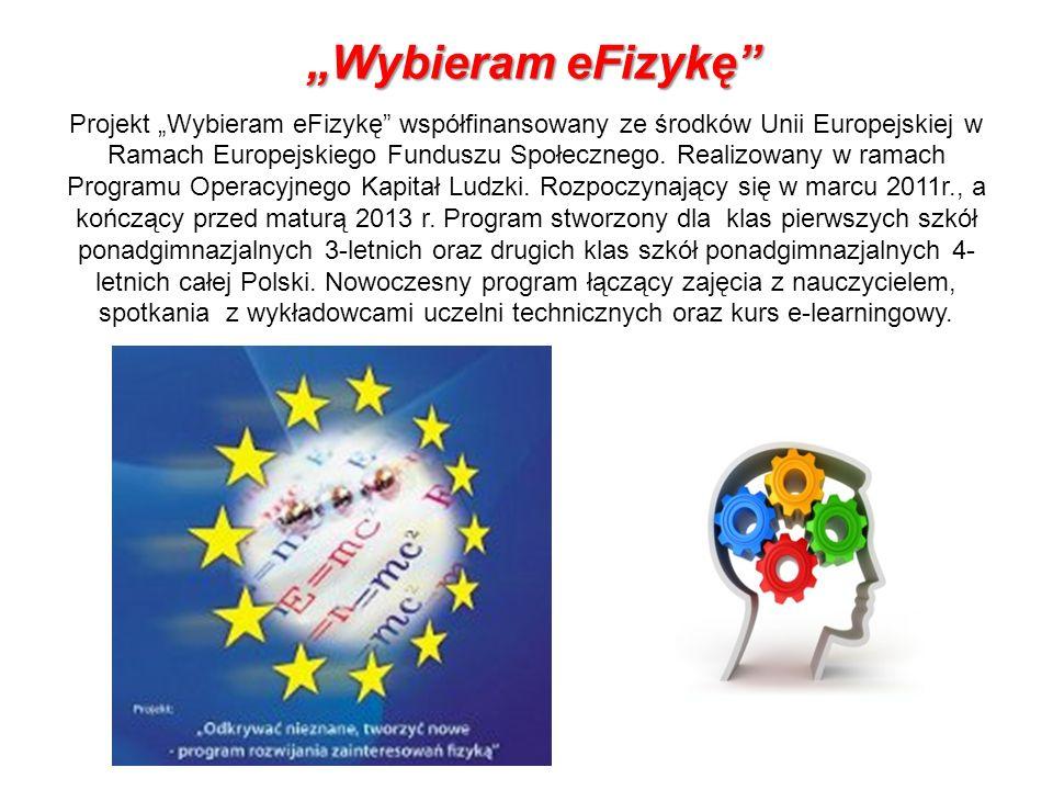 Wybieram eFizykę Wybieram eFizykę Projekt Wybieram eFizykę współfinansowany ze środków Unii Europejskiej w Ramach Europejskiego Funduszu Społecznego.