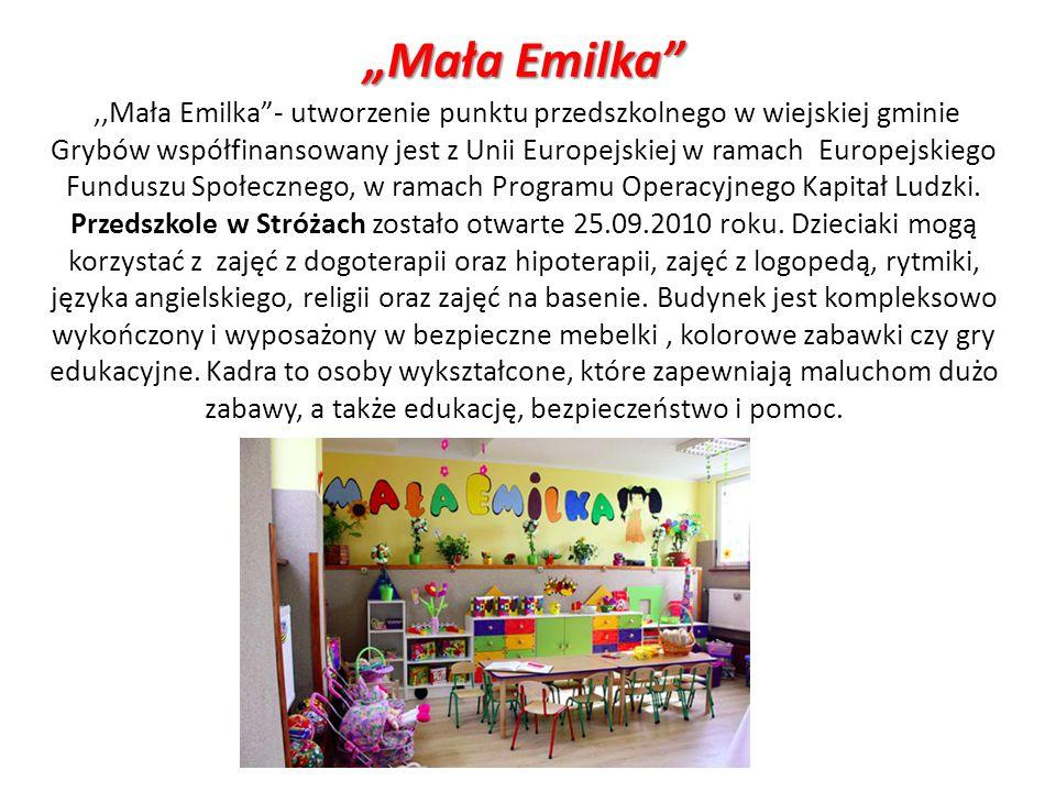 Mała Emilka,,Mała Emilka- utworzenie punktu przedszkolnego w wiejskiej gminie Grybów współfinansowany jest z Unii Europejskiej w ramach Europejskiego