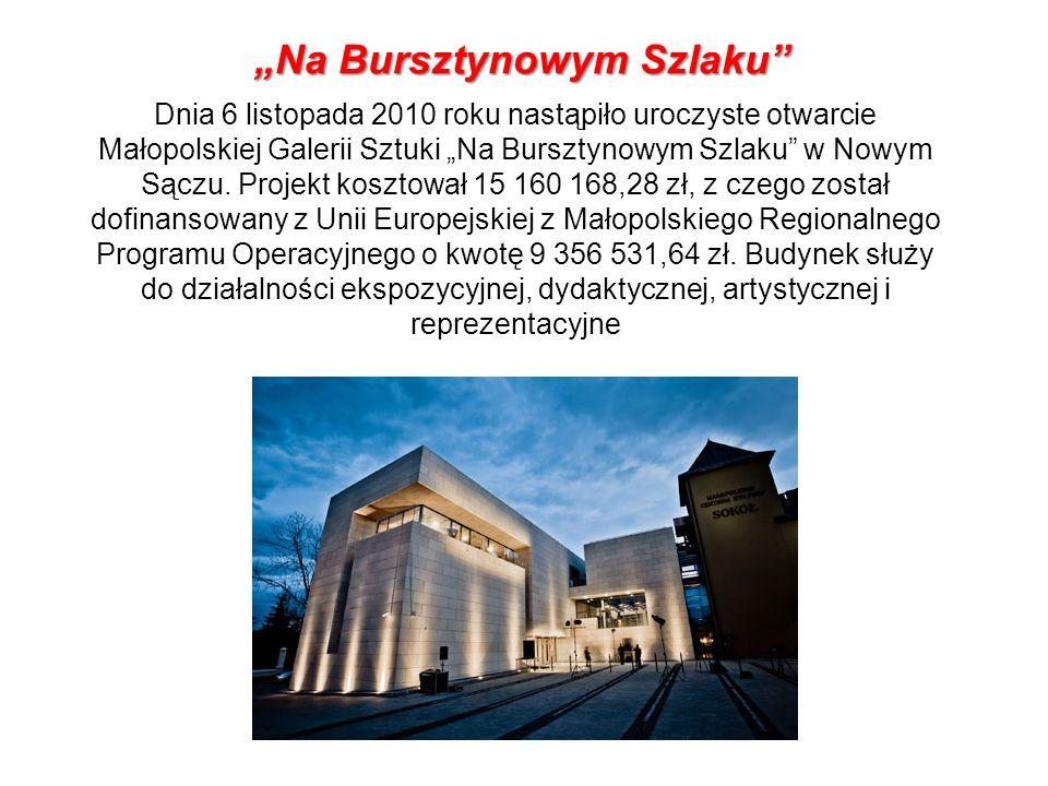 Dnia 6 listopada 2010 roku nastąpiło uroczyste otwarcie Małopolskiej Galerii Sztuki Na Bursztynowym Szlaku w Nowym Sączu. Projekt kosztował 15 160 168