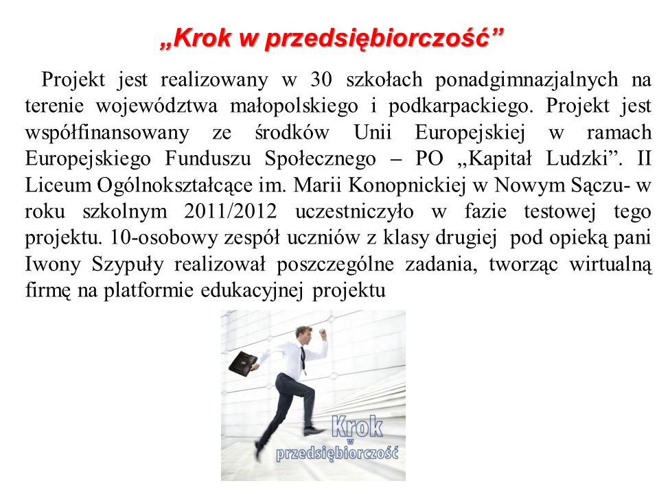Projekt jest realizowany w 30 szkołach ponadgimnazjalnych na terenie województwa małopolskiego i podkarpackiego. Projekt jest współfinansowany ze środ