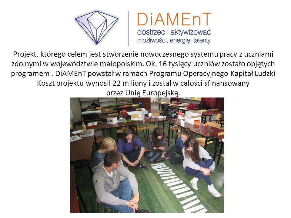 Projekt, którego celem jest stworzenie nowoczesnego systemu pracy z uczniami zdolnymi w województwie małopolskim. Ok. 16 tysięcy uczniów zostało objęt