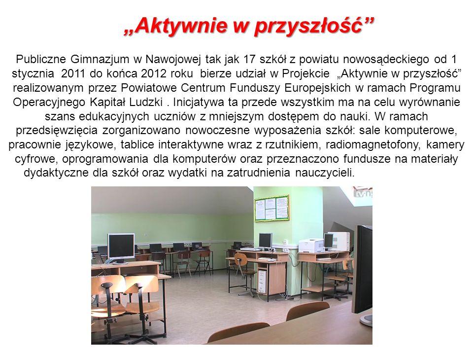 Aktywnie w przyszłośćAktywnie w przyszłość Publiczne Gimnazjum w Nawojowej tak jak 17 szkół z powiatu nowosądeckiego od 1 stycznia 2011 do końca 2012
