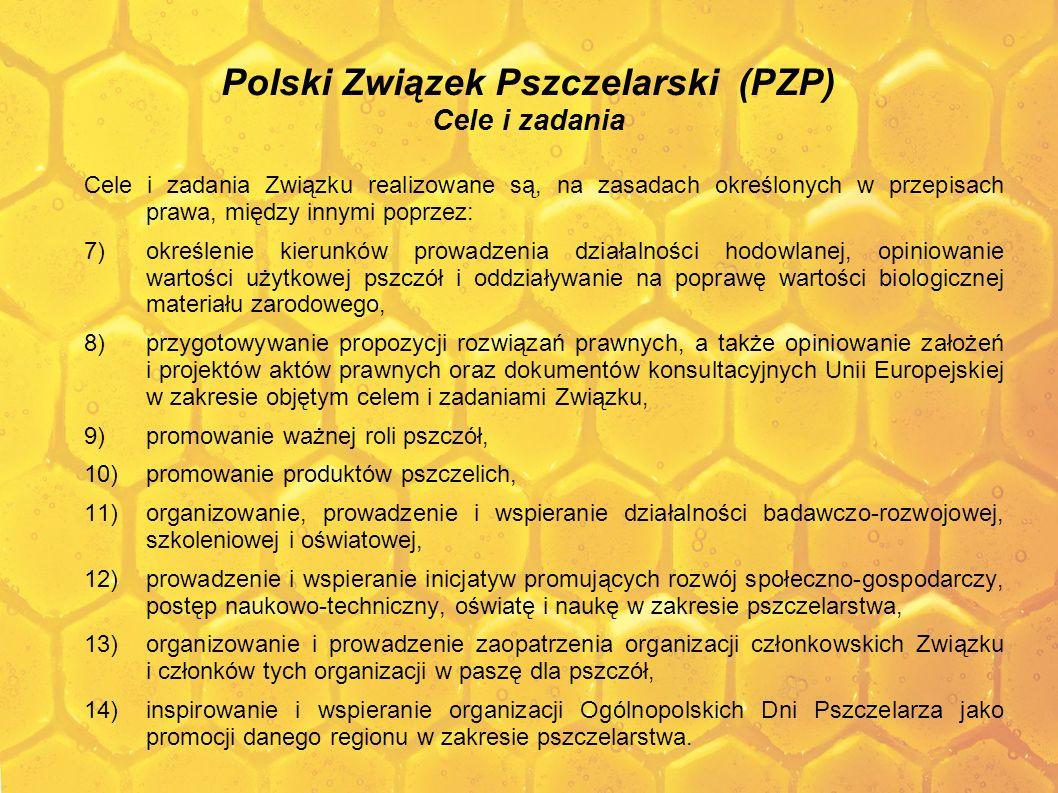 Polski Związek Pszczelarski (PZP) Cele i zadania Cele i zadania Związku realizowane są, na zasadach określonych w przepisach prawa, między innymi popr