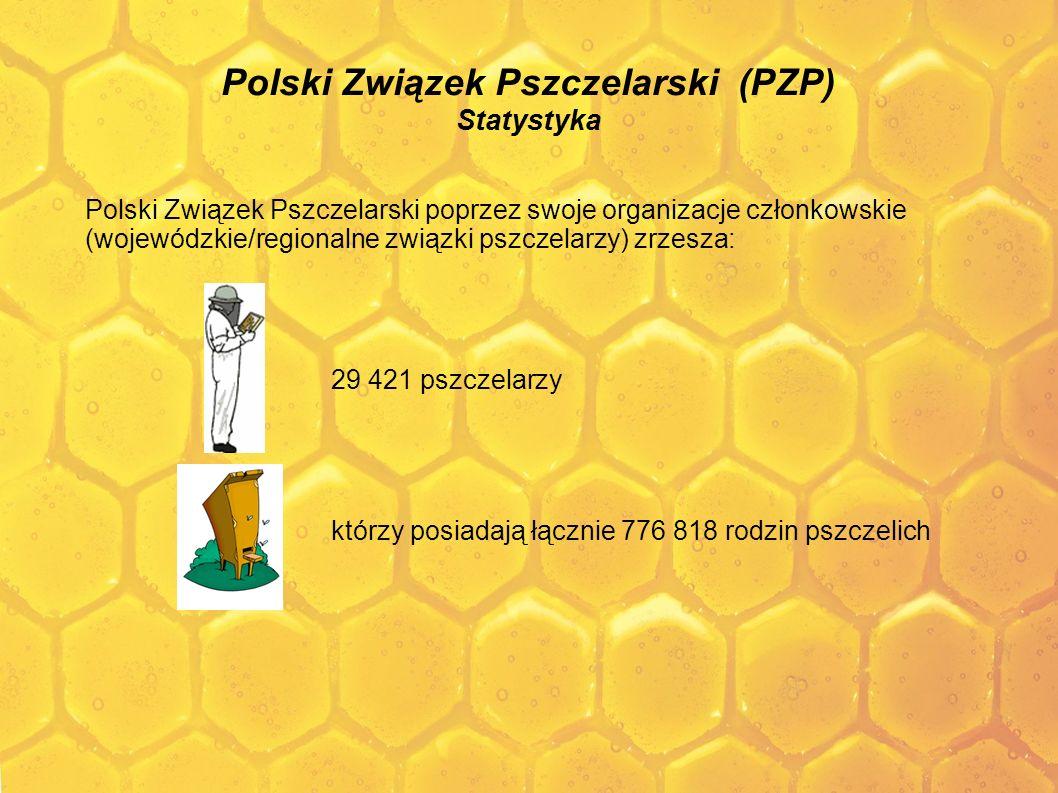 Polski Związek Pszczelarski (PZP) Statystyka Polski Związek Pszczelarski poprzez swoje organizacje członkowskie (wojewódzkie/regionalne związki pszcze