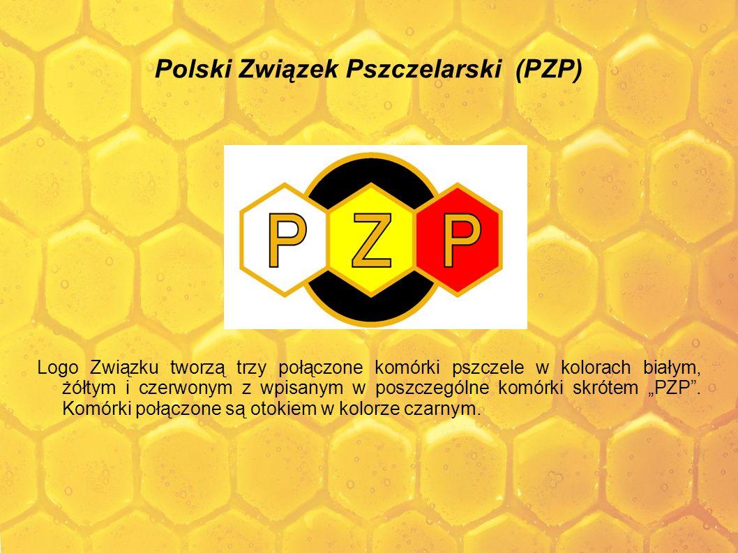 Polski Związek Pszczelarski (PZP) Logo Związku tworzą trzy połączone komórki pszczele w kolorach białym, żółtym i czerwonym z wpisanym w poszczególne
