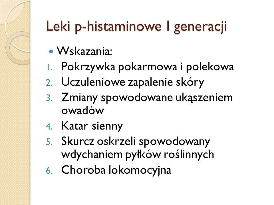 Leki p-histaminowe I generacji Wskazania: 1. Pokrzywka pokarmowa i polekowa 2. Uczuleniowe zapalenie skóry 3. Zmiany spowodowane ukąszeniem owadów 4.