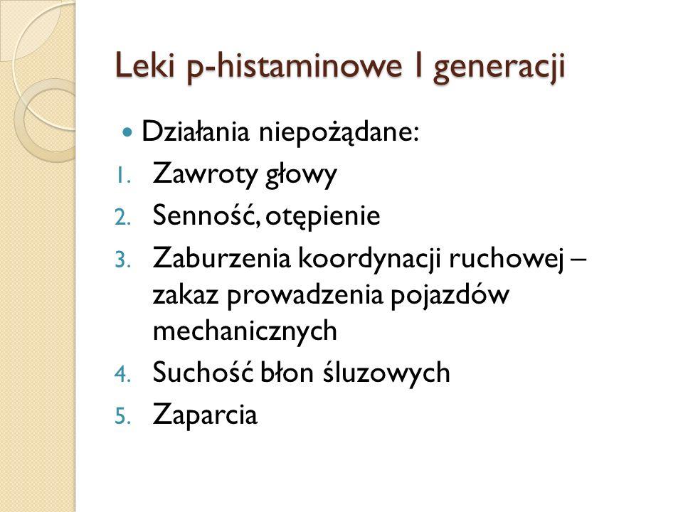 Leki p-histaminowe I generacji Działania niepożądane: 1. Zawroty głowy 2. Senność, otępienie 3. Zaburzenia koordynacji ruchowej – zakaz prowadzenia po