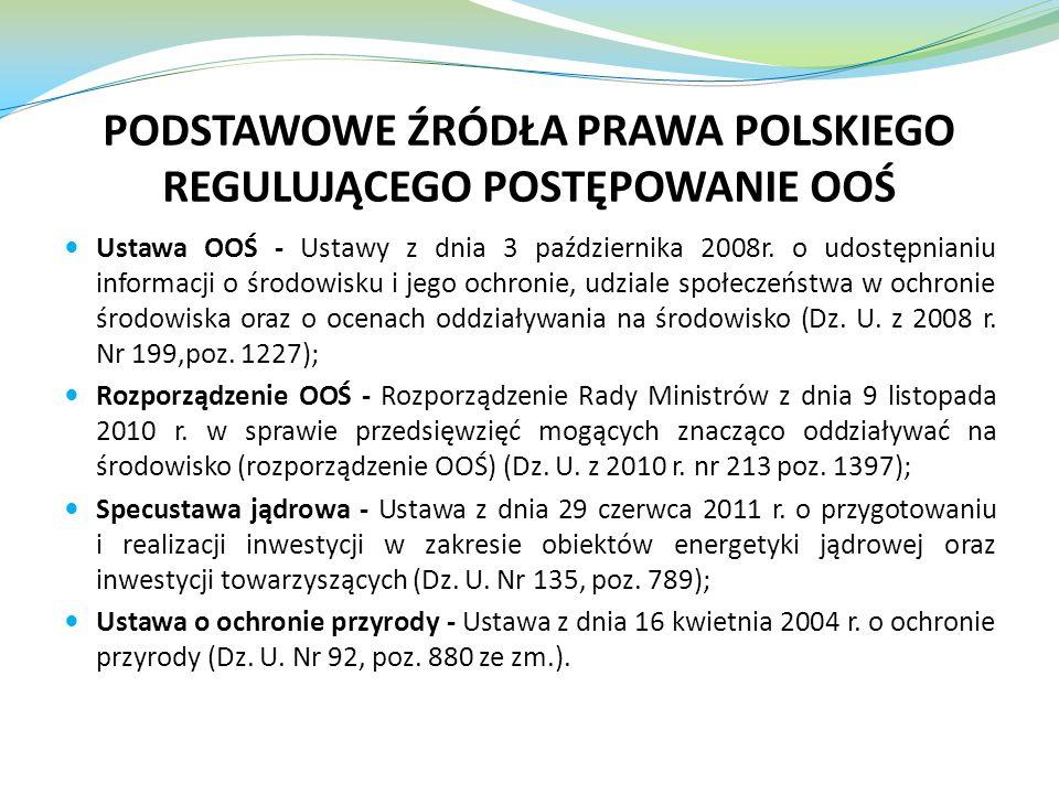 PODSTAWOWE ŹRÓDŁA PRAWA POLSKIEGO REGULUJĄCEGO POSTĘPOWANIE OOŚ Ustawa OOŚ - Ustawy z dnia 3 października 2008r. o udostępnianiu informacji o środowis