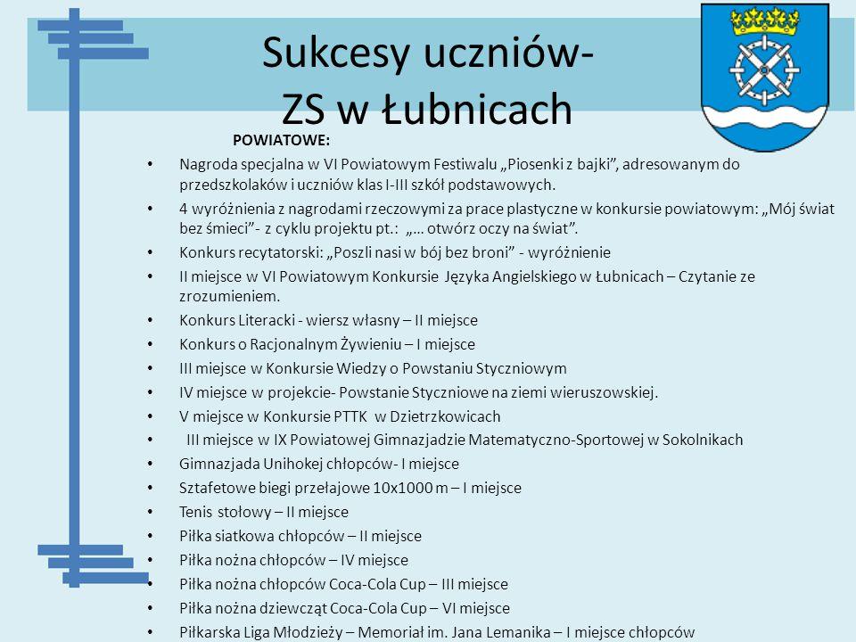 Sukcesy uczniów- ZS w Łubnicach POWIATOWE: Nagroda specjalna w VI Powiatowym Festiwalu Piosenki z bajki, adresowanym do przedszkolaków i uczniów klas
