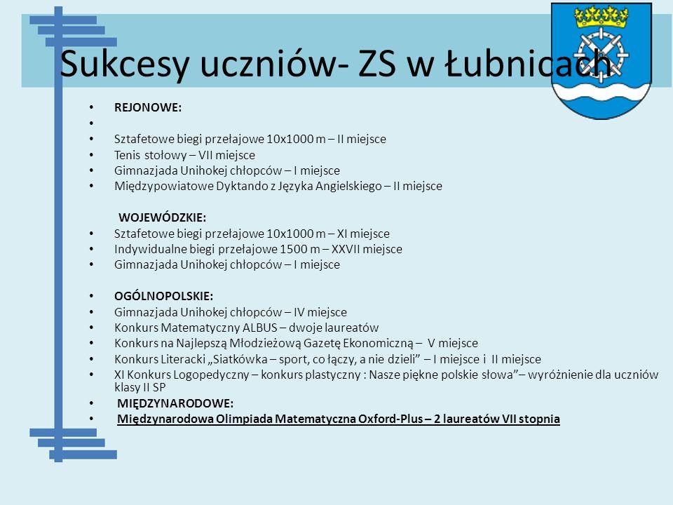 Sukcesy uczniów- ZS w Łubnicach REJONOWE: Sztafetowe biegi przełajowe 10x1000 m – II miejsce Tenis stołowy – VII miejsce Gimnazjada Unihokej chłopców