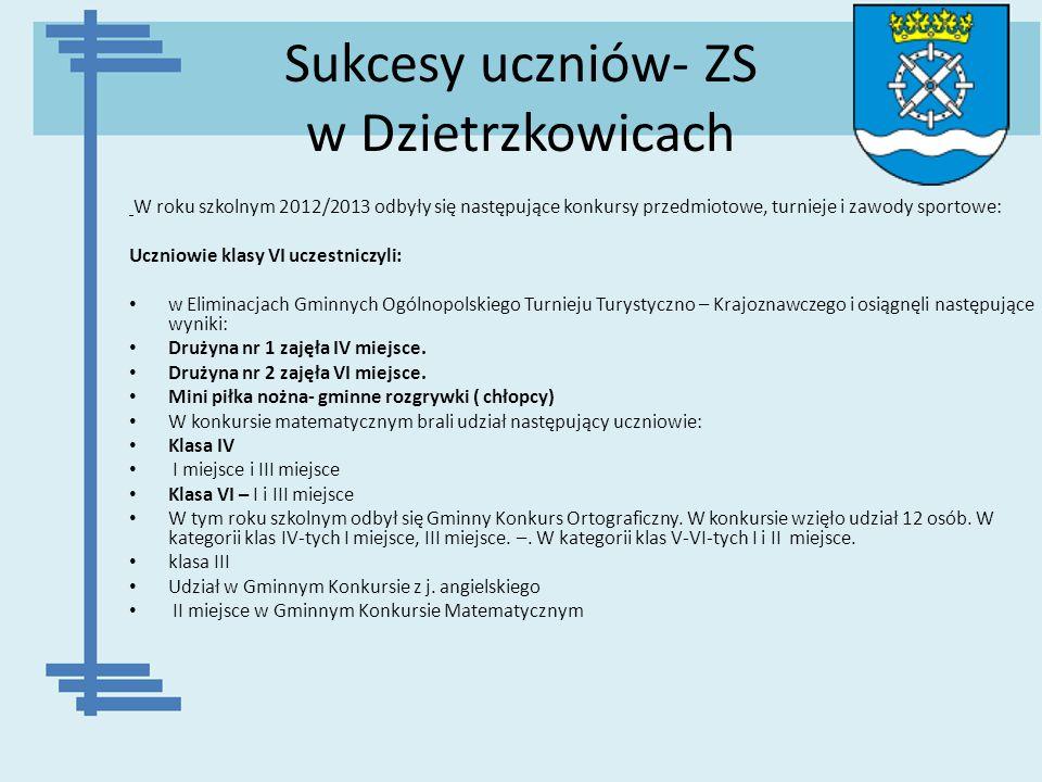 Sukcesy uczniów- ZS w Dzietrzkowicach W roku szkolnym 2012/2013 odbyły się następujące konkursy przedmiotowe, turnieje i zawody sportowe: Uczniowie kl