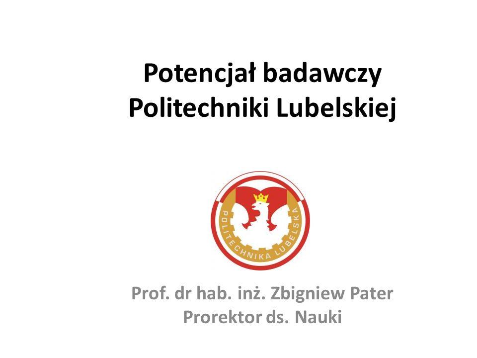 Potencjał badawczy Politechniki Lubelskiej Prof. dr hab. inż. Zbigniew Pater Prorektor ds. Nauki