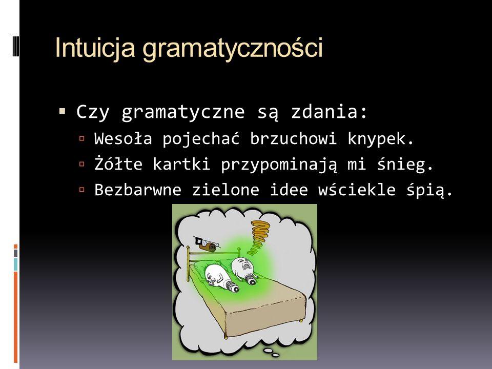 Intuicja gramatyczności Czy gramatyczne są zdania: Wesoła pojechać brzuchowi knypek. Żółte kartki przypominają mi śnieg. Bezbarwne zielone idee wściek