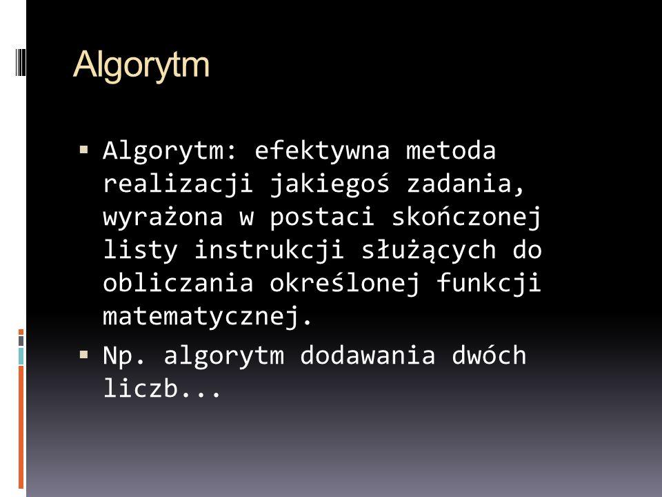Algorytm Algorytm: efektywna metoda realizacji jakiegoś zadania, wyrażona w postaci skończonej listy instrukcji służących do obliczania określonej fun