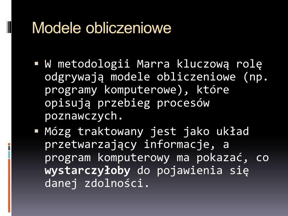 Modele obliczeniowe W metodologii Marra kluczową rolę odgrywają modele obliczeniowe (np.