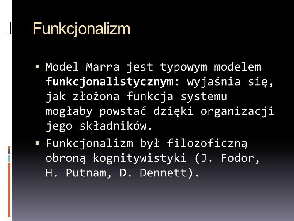 Funkcjonalizm Model Marra jest typowym modelem funkcjonalistycznym: wyjaśnia się, jak złożona funkcja systemu mogłaby powstać dzięki organizacji jego składników.