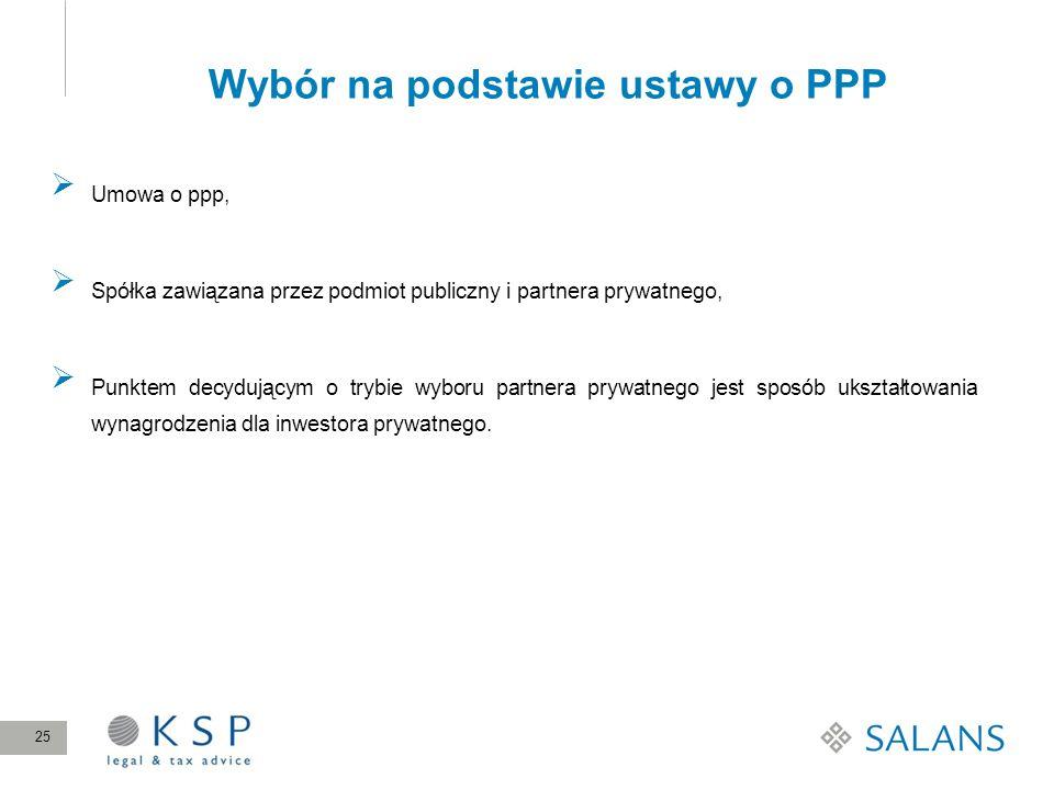 Wybór na podstawie ustawy o PPP 25 Umowa o ppp, Spółka zawiązana przez podmiot publiczny i partnera prywatnego, Punktem decydującym o trybie wyboru pa