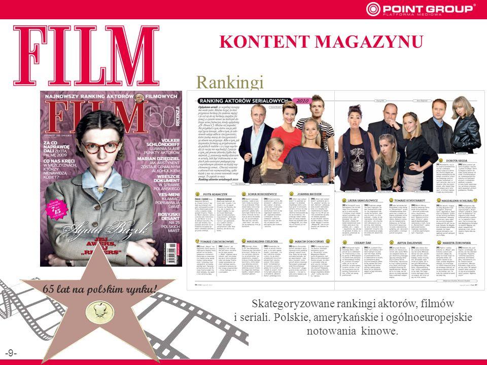 KONTENT MAGAZYNU Skategoryzowane rankingi aktorów, filmów i seriali.