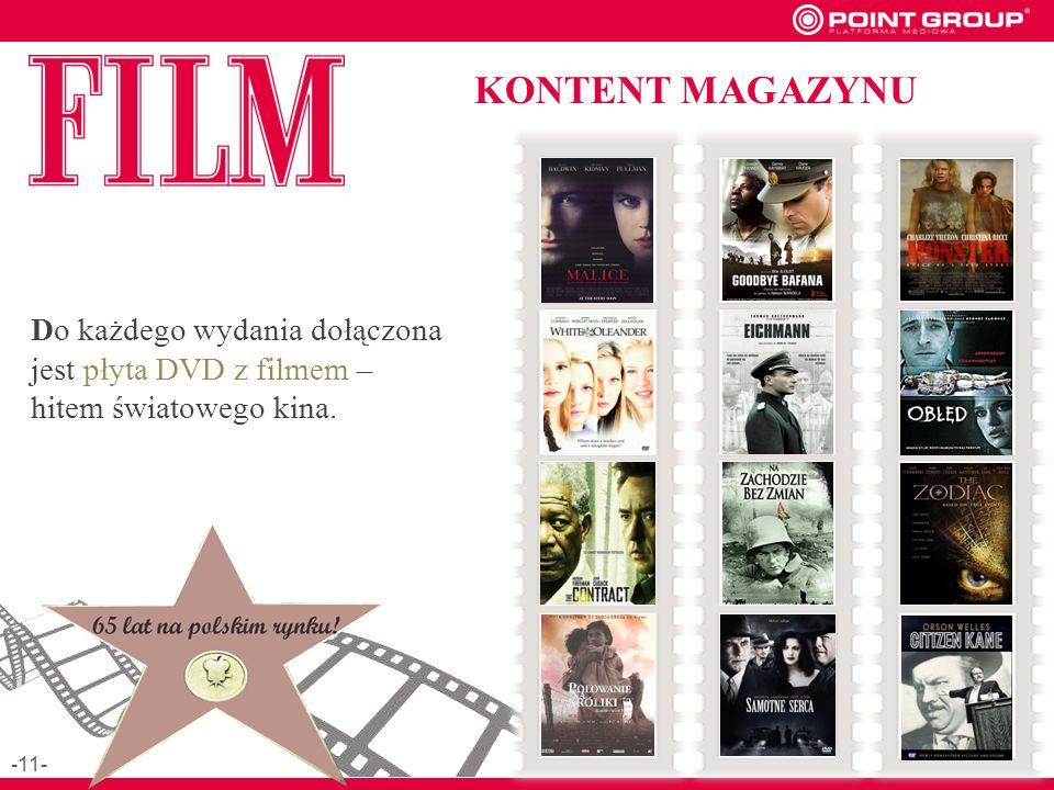 KONTENT MAGAZYNU Do każdego wydania dołączona jest płyta DVD z filmem – hitem światowego kina. -11-