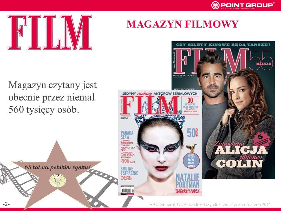 MAGAZYN FILMOWY Magazyn czytany jest obecnie przez niemal 560 tysięcy osób.
