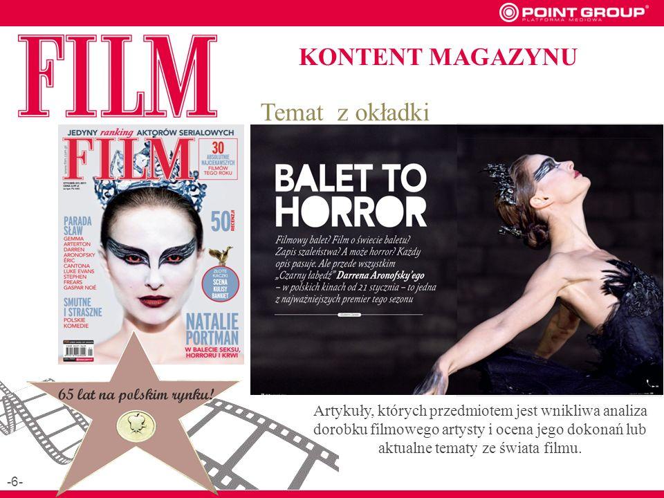 KONTENT MAGAZYNU Temat z okładki Artykuły, których przedmiotem jest wnikliwa analiza dorobku filmowego artysty i ocena jego dokonań lub aktualne tematy ze świata filmu.