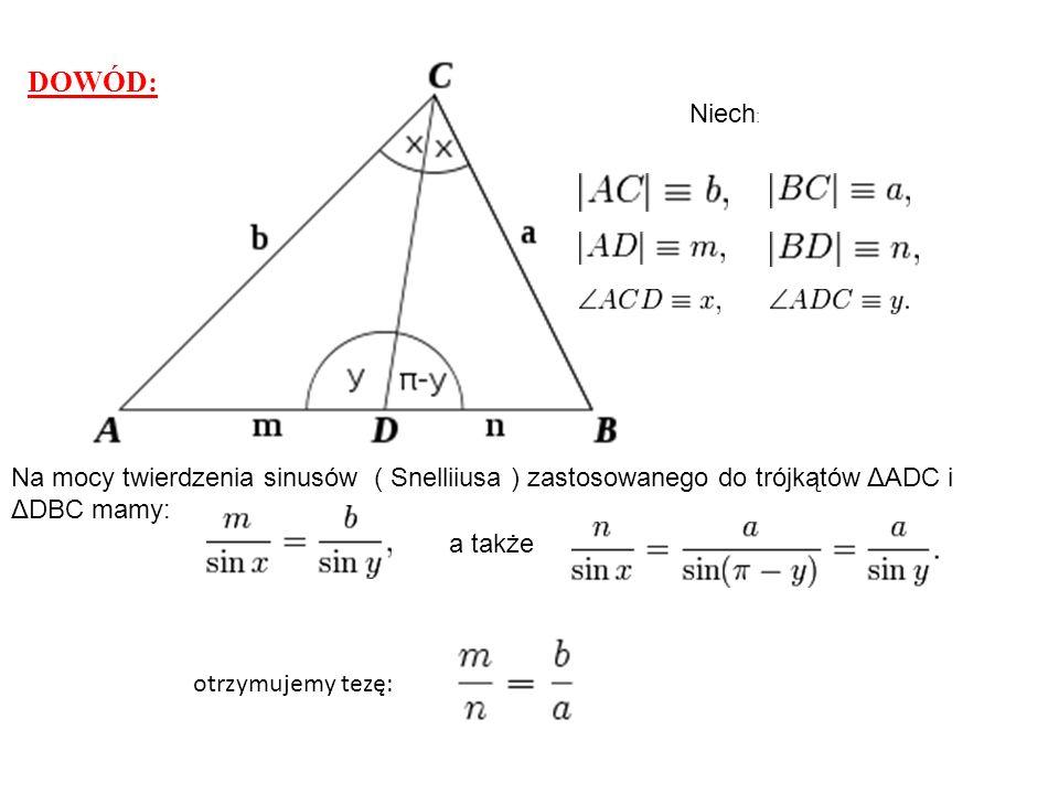 DOWÓD: Niech : Na mocy twierdzenia sinusów ( Snelliiusa ) zastosowanego do trójkątów ΔADC i ΔDBC mamy: a także otrzymujemy tezę: