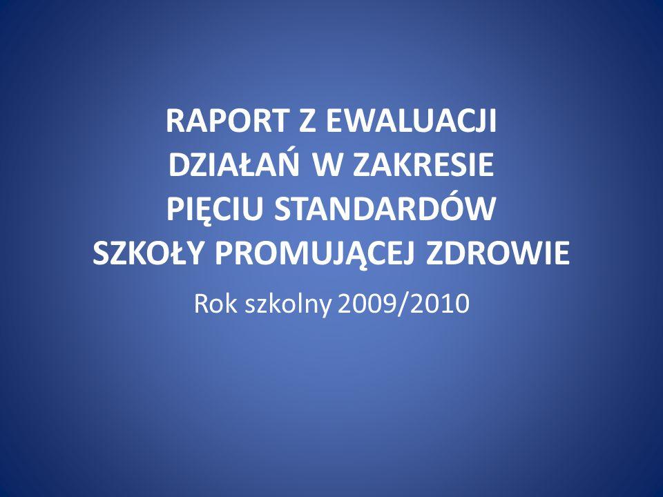 RAPORT Z EWALUACJI DZIAŁAŃ W ZAKRESIE PIĘCIU STANDARDÓW SZKOŁY PROMUJĄCEJ ZDROWIE Rok szkolny 2009/2010