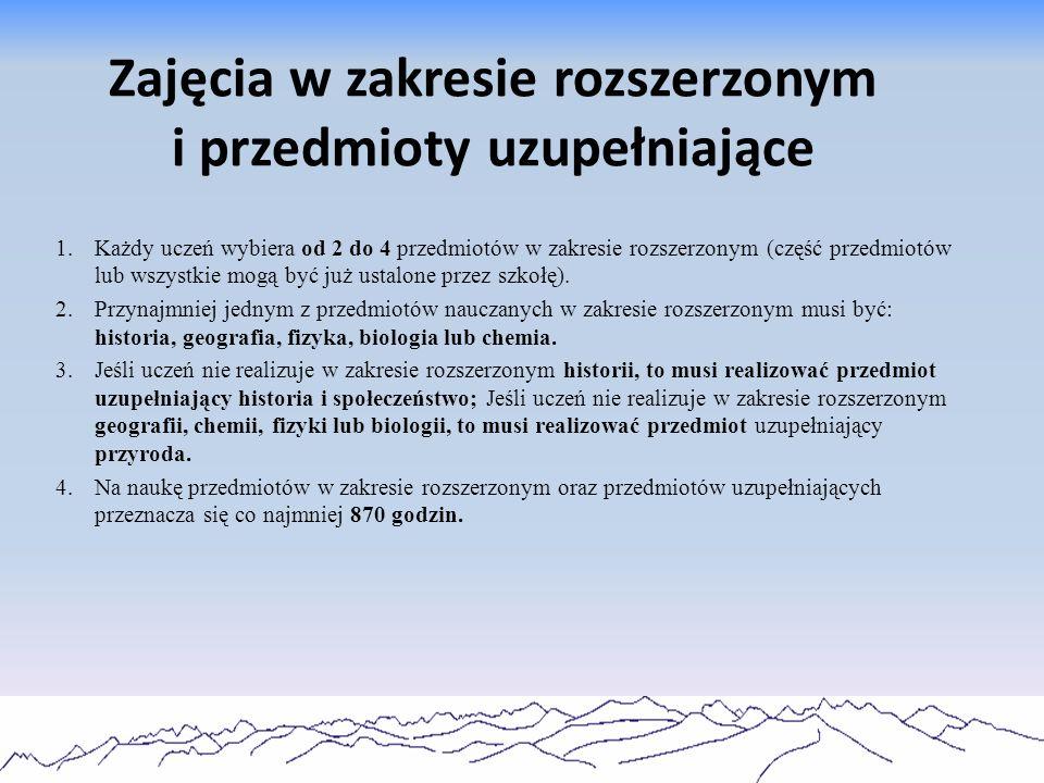 Zajęcia w zakresie rozszerzonym W zakresie rozszerzonymLiczba godzin przedmiotu Suma tygodniowa w klasie I, II i III Historia2408 Biologia2408 Fizyka2408 Chemia2408 Geografia2408 Wiedza o społeczeństwie1806 Informatyka1806 Matematyka1806 Język obcy1806 Język polski2408 Historia muzyki, filozofia, historia sztuki1806