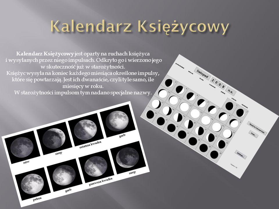 Kalendarz Księżycowy jest oparty na ruchach księżyca i wysyłanych przez niego impulsach.
