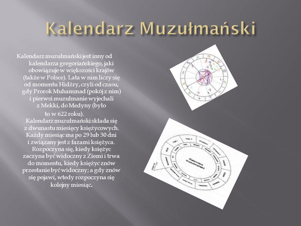 Kalendarz muzułmański jest inny od kalendarza gregoriańskiego, jaki obowiązuje w większości krajów (także w Polsce). Lata w nim liczy się od momentu H