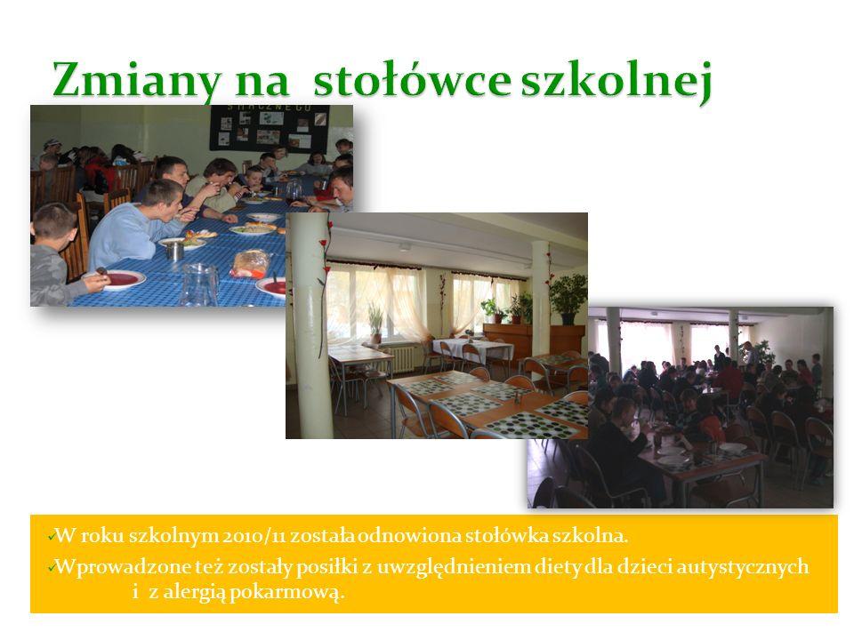 W roku szkolnym 2010/11 została odnowiona stołówka szkolna. Wprowadzone też zostały posiłki z uwzględnieniem diety dla dzieci autystycznych i z alergi