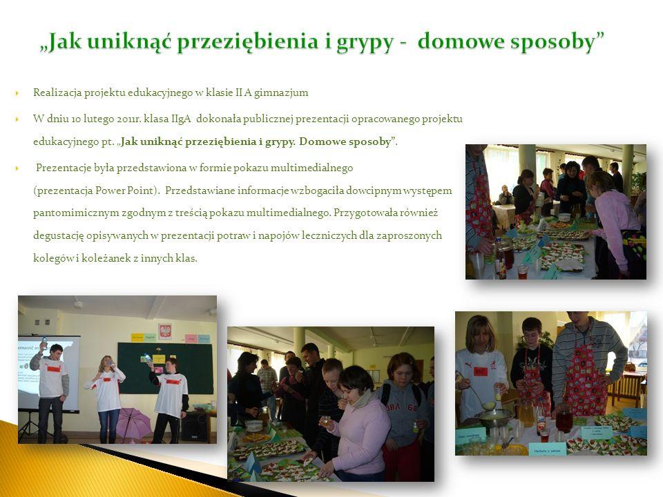 Realizacja projektu edukacyjnego w klasie II A gimnazjum W dniu 10 lutego 2011r. klasa IIgA dokonała publicznej prezentacji opracowanego projektu eduk