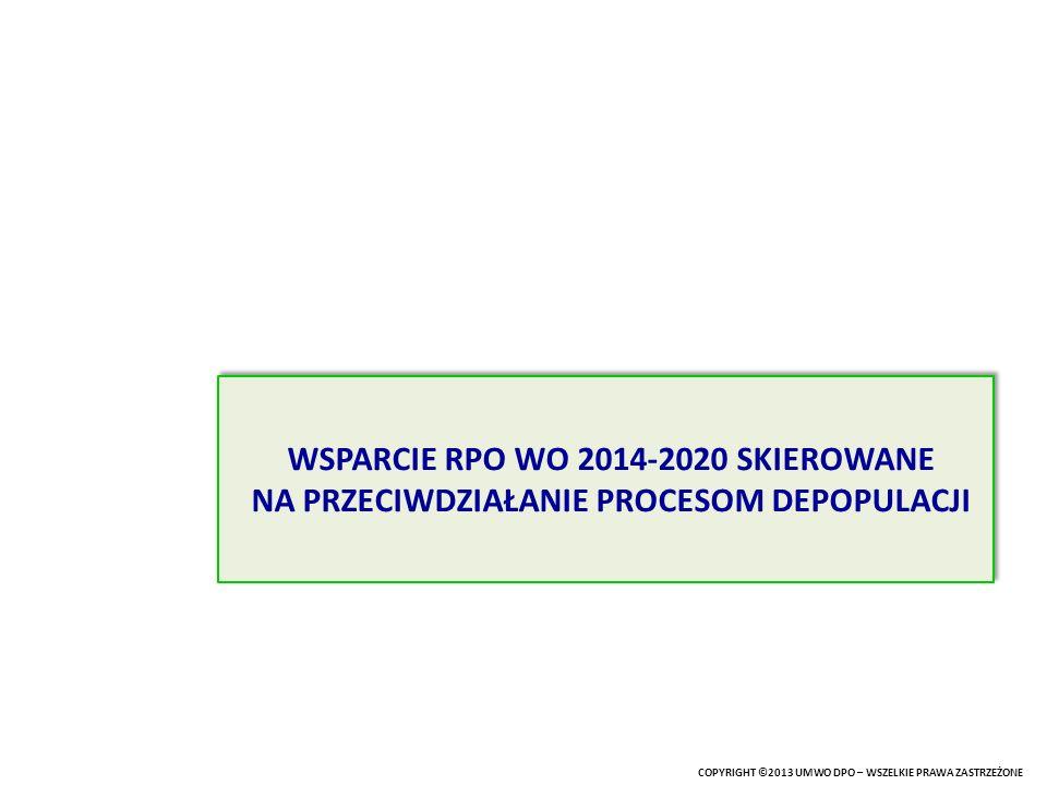 Podział środków w ramach RPO WO 2014-2020 EFRR 680,8 mln Euro Wsparcie SSD = 362,8 mln Euro EFRR = 175,2 mln Euro EFS = 187,6 mln Euro Wsparcie SSD = 362,8 mln Euro EFRR = 175,2 mln Euro EFS = 187,6 mln Euro Regionalny Program Operacyjny Województwa Opolskiego 2014-2020 Łączna alokacja 944,1 mln Euro EFS 263,3 mln Euro 38,43 % alokacji