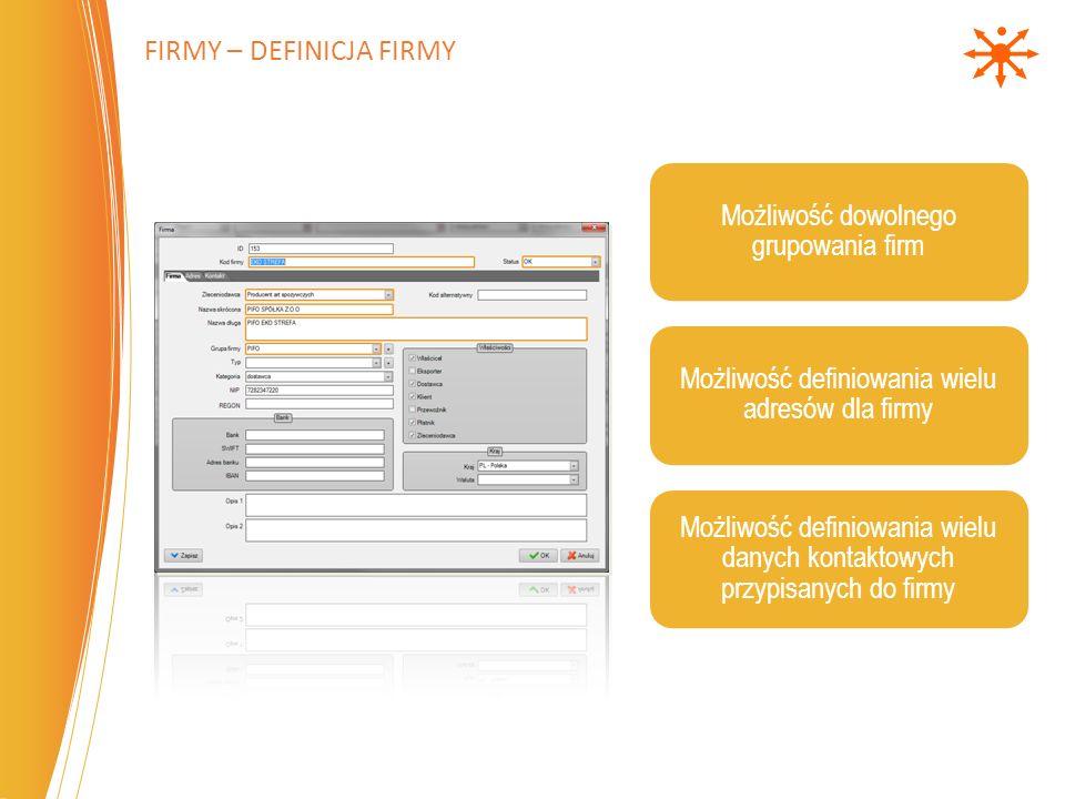 Możliwość dowolnego grupowania firm Możliwość definiowania wielu adresów dla firmy Możliwość definiowania wielu danych kontaktowych przypisanych do firmy FIRMY – DEFINICJA FIRMY