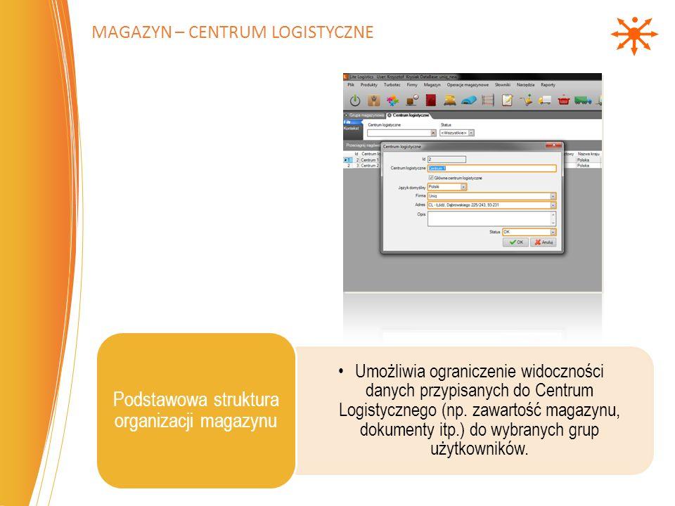 Umożliwia ograniczenie widoczności danych przypisanych do Centrum Logistycznego (np. zawartość magazynu, dokumenty itp.) do wybranych grup użytkownikó