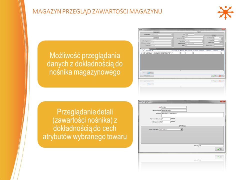 Możliwość przeglądania danych z dokładnością do nośnika magazynowego Przeglądanie detali (zawartości nośnika) z dokładnością do cech atrybutów wybranego towaru MAGAZYN PRZEGLĄD ZAWARTOŚCI MAGAZYNU