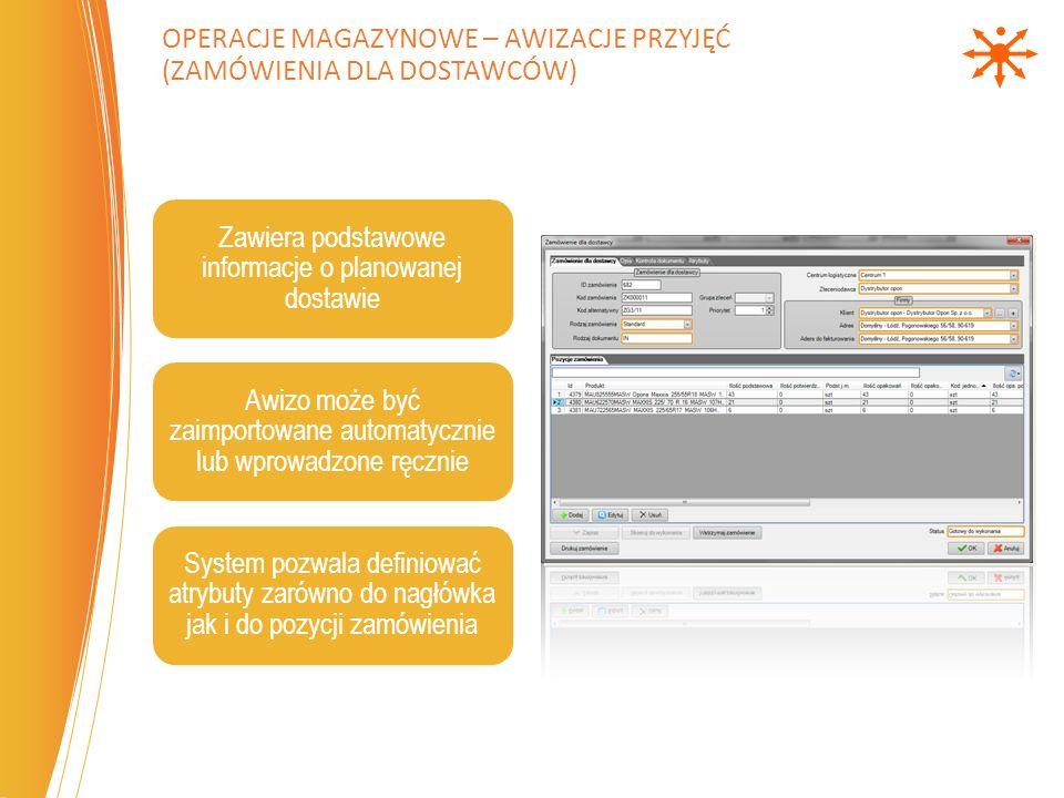 Zawiera podstawowe informacje o planowanej dostawie Awizo może być zaimportowane automatycznie lub wprowadzone ręcznie System pozwala definiować atryb