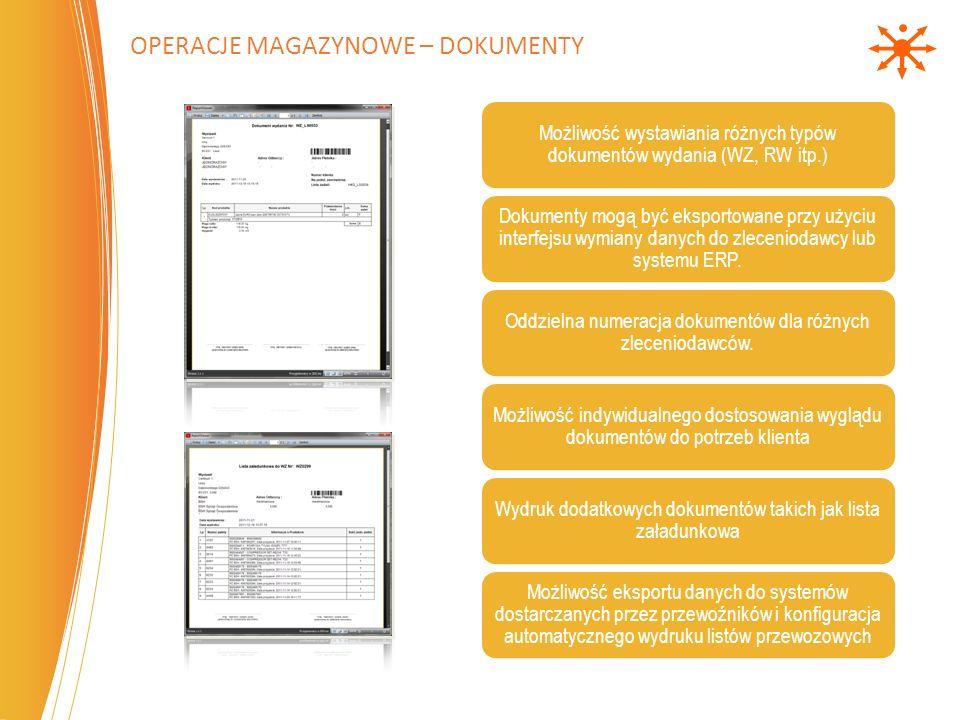 OPERACJE MAGAZYNOWE – DOKUMENTY Możliwość wystawiania różnych typów dokumentów wydania (WZ, RW itp.) Dokumenty mogą być eksportowane przy użyciu inter