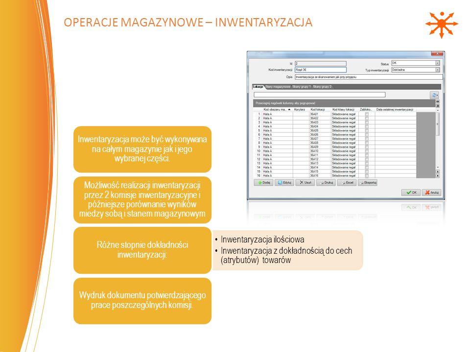 Inwentaryzacja może być wykonywana na całym magazynie jak i jego wybranej części. Możliwość realizacji inwentaryzacji przez 2 komisje inwentaryzacyjne