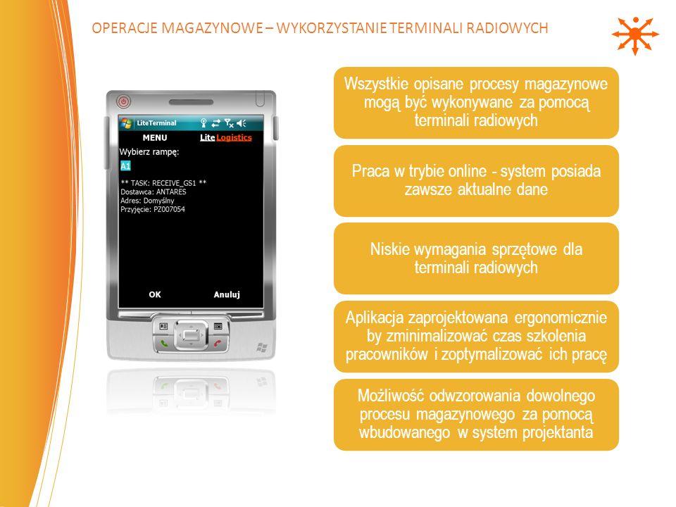 Wszystkie opisane procesy magazynowe mogą być wykonywane za pomocą terminali radiowych Praca w trybie online - system posiada zawsze aktualne dane Nis