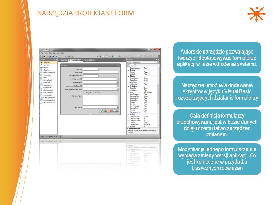 Autorskie narzędzie pozwalające tworzyć i dostosowywać formularze aplikacji w fazie wdrożenia systemu. Narzędzie umożliwia dodawanie skryptów w języku