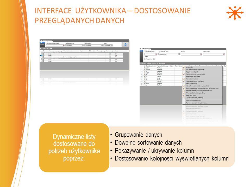 Jednoczesną pracę w wielu językach Dodawanie nowych języków Łatwe dostosowywanie nazewnictwa do obowiązujących w firmie standardów Wielojęzyczny interface pozwalający na: INTERFACE UŻYTKOWNIKA – WIELOJĘZYCZNOŚĆ