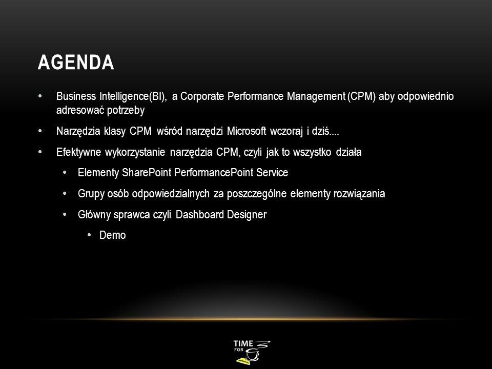 AGENDA Business Intelligence(BI), a Corporate Performance Management (CPM) aby odpowiednio adresować potrzeby Narzędzia klasy CPM wśród narzędzi Micro