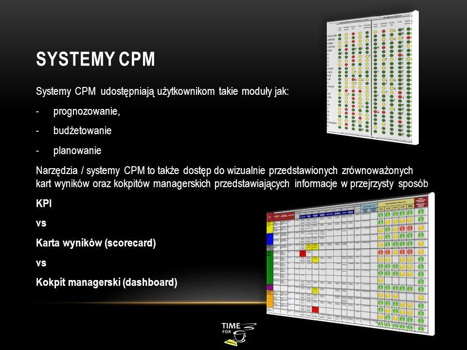SYSTEMY CPM Systemy CPM udostępniają użytkownikom takie moduły jak: -prognozowanie, -budżetowanie -planowanie Narzędzia / systemy CPM to także dostęp