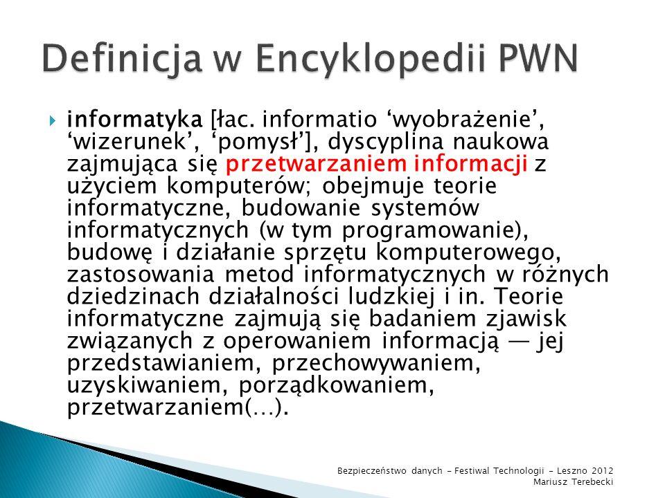 Dane uszkodzone logicznie Uszkodzony nośnik danych Bezpieczeństwo danych - Festiwal Technologii - Leszno 2012 Mariusz Terebecki